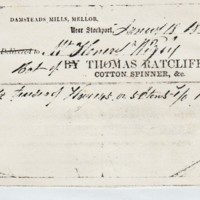 Damstead Mill Delivery Note 1860