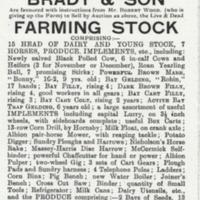 Farming Stock Auctions : 1917 - 1939