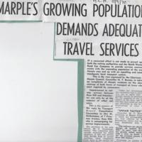 "Newspaper cutting : ""Marple's Growing Population Demands Adequate Travel Services"" : 1970"