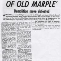 """Newspaper report """"Fight to Save a Bit of Old Marple"""" : 1964"""
