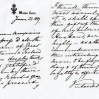 Photocopy of letter from Queen Victoria 1887