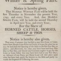 Notice : Winter & Spring Fairs : 1797