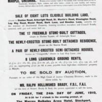 Auction Sale Leaflet : 1910 Enoch Tempest Estate