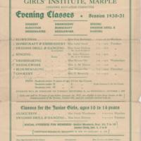 Girls Institute Evening Classes Leaflets : 1925-26 & 1930-1931