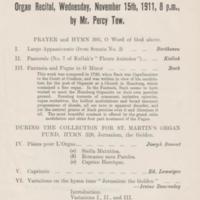 Events at Church  - Organ Recitals, Concerts : Various Dates