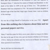 Henry Bradshaw 1666 -1735