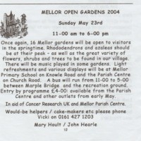 Extract from Church Magazine :  Advert for Open Gardens : 2004