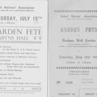 Garden Fetes at Brabyns Hall : United Nations Assoc : 1950's