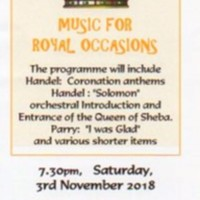 Marple Choral Society  Flyer : Music for Royal Occasions : 2018