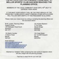 "Flyer : ""Mellor against Masts"" with skeleton objection letter."