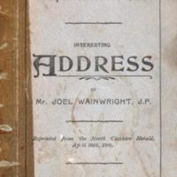Booklet : Address given by J Wainwright JP : 1900