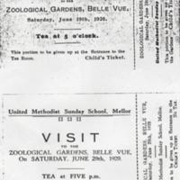 United Methodist Sunday School Picnic Tickets 1926 & 1929