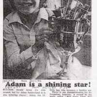 "Adam Sunderland : Newspaper report ""Adam is a shining Star"" : 1982"