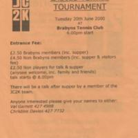Brabyns Tennis Club Flyer : 2000