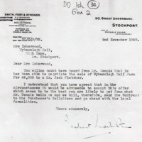 Correspondence re Sale of Wyberslegh Hall Farm 1949