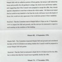 Council Minutes : Marple Hall : 1954