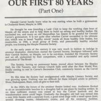 """History of Carver Theatre """"Our First 80 Years"""""""