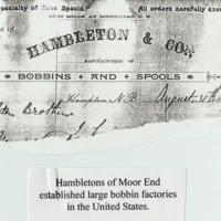 Letterhead for Hambletons Bobbin Makers : USA