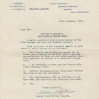 Correspondence relating to Parish Hall and British Restaurant