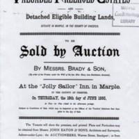 Auction Sale Leaflet :  Six Lots around Marple : 1885