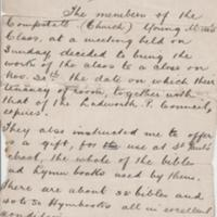 Letter to Rev. Hopkins 1901 : Closure of Young Mens Class