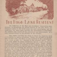 High Lane Residents Magazines : Various Dates