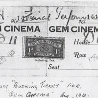 Last Booking ticket for the Gem Cinema : 1931