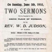 Notices of Services : Two Sermons 1909,1910 and 1912