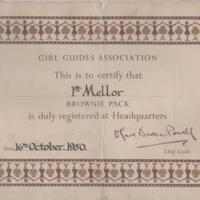 Brownie Registration Card 1950