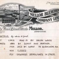 Holly Head Bleach Works Letterhead