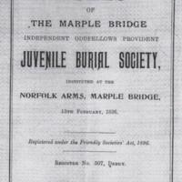 Marple Bridge Independent & Oddfellows Provident Juvenile Burial Society Rule Book