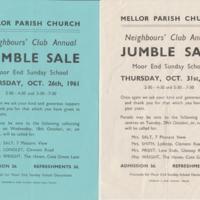 Jumble Sale Notices : Various Dates 1957 - 1961