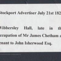 Display : Wibbersley Hall Tenant