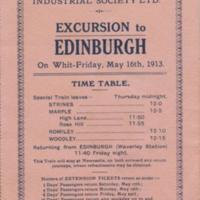 Time table/Programme  for Whit-Friday Excursion 1913