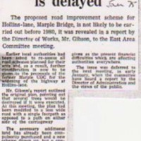 Newspaper Cutting relating to Roads in and around Marple
