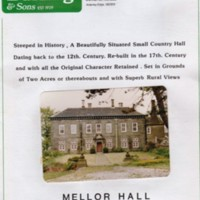 Sales Brochures for Mellor Hall : Undated