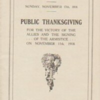 Programme for Public Thanksgiving Service 11.11.1918