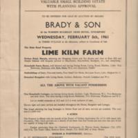Sales Details : Auction of Lime Kiln Farm :1961