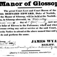 "Notice : ""Manor of Glossop"" Court Leet Meeting 1829"