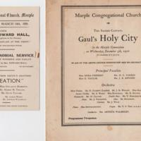 Concert Programmes 1906, 1908, 1920 and  1921