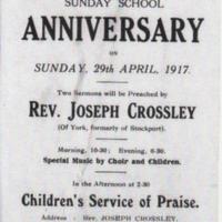 Sunday School Annversary : 1917
