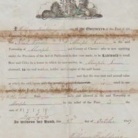 Licenced Certificate to retail beer and cider : 1847