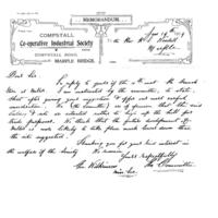 Memorandum from Co-operative Industrial Society dated 1909