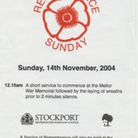 Flyer for Remembrance Sunday : 2004
