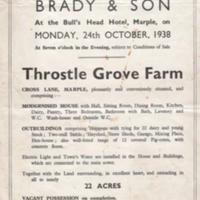 Auction sale particulars for Throstle Grove Farm : 1938