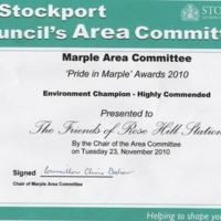 Friends of Rose Hill Station Awards : 2010, 11 & 12