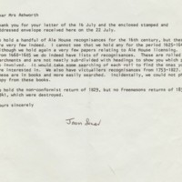 Records Held at Derbyshire County Archive : Letter 1985