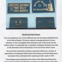 Marple Boat Rally Plaques : Donated 2016