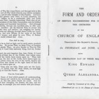 Form & Order for Coronation of King Edward & Form of Prayer for Coronation of King George V. 1902