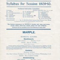 Syllabus :Technical Instruction : Marple & High Lane : 1909 - 1910